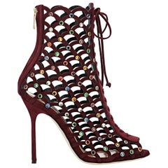 New Sergio Rossi Multicolor Crystal-Embellished Suede Ankle Boots Booties 39.5