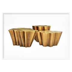New Set Design Coffee Table in Resin Reinforced with Fiberglass Finished in Gold