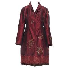 new SHIATZY CHEN red silk jade embroidered oriental floral fur trim coat FR40