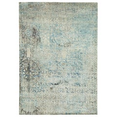 New Silk Distressed Hand Knotted Area Rug