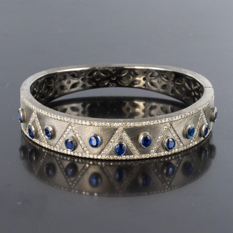 New Silver Diamond Kyanites Bangle Bracelet For Sale 5