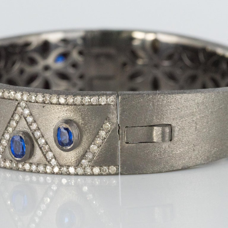 New Silver Diamond Kyanites Bangle Bracelet For Sale 7