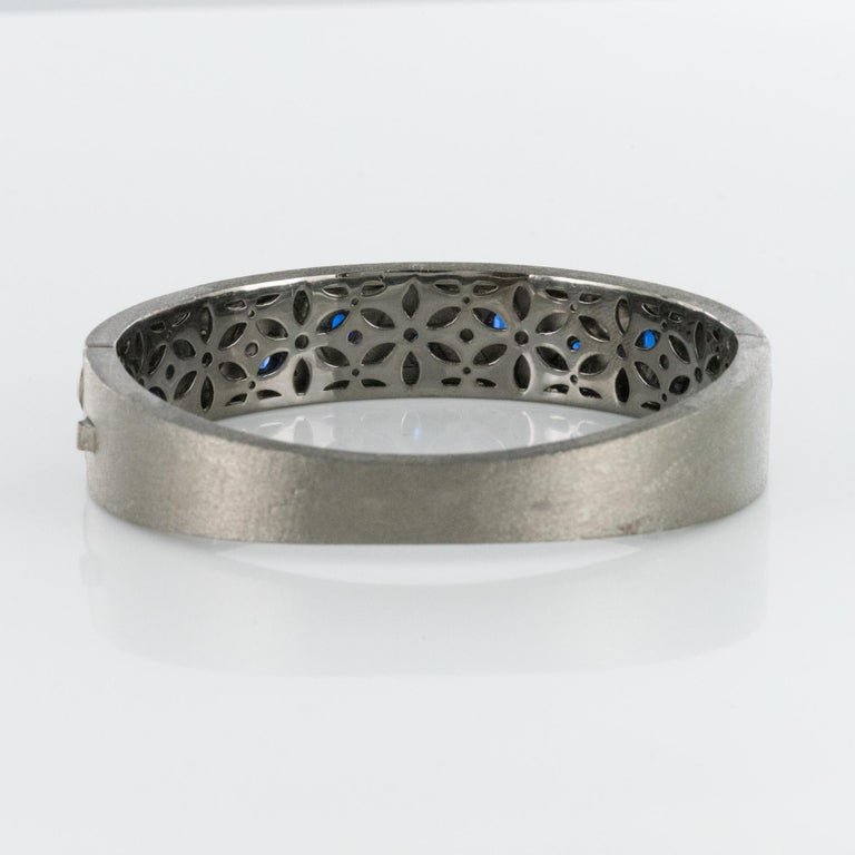 New Silver Diamond Kyanites Bangle Bracelet For Sale 11