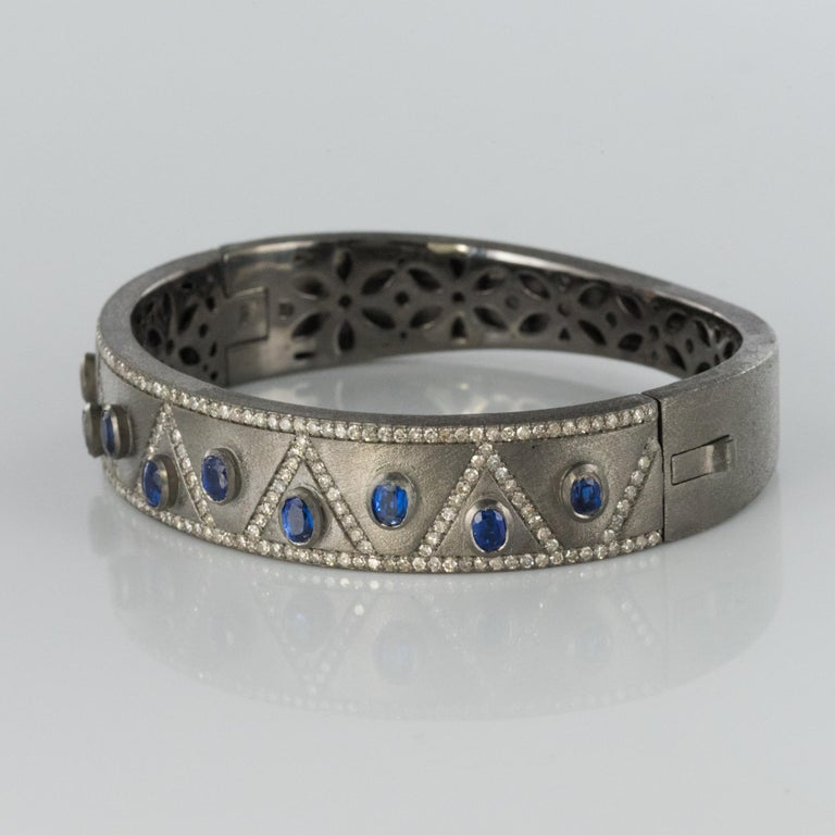 Modern New Silver Diamond Kyanites Bangle Bracelet For Sale