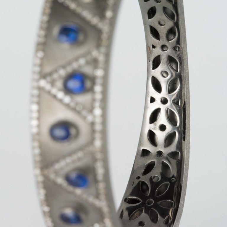 Women's New Silver Diamond Kyanites Bangle Bracelet For Sale