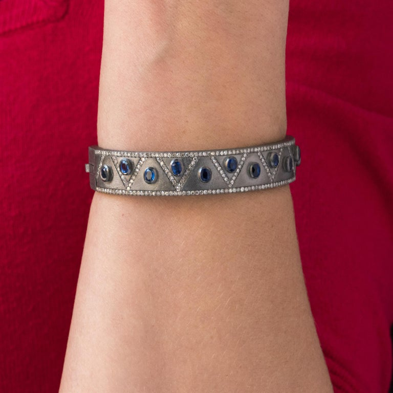 New Silver Diamond Kyanites Bangle Bracelet For Sale 1