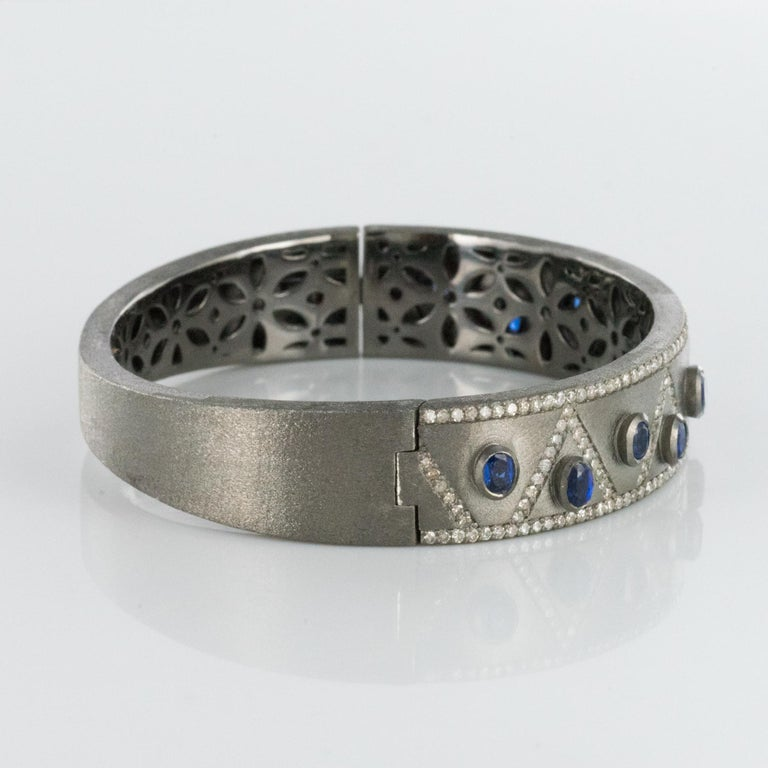 New Silver Diamond Kyanites Bangle Bracelet For Sale 2