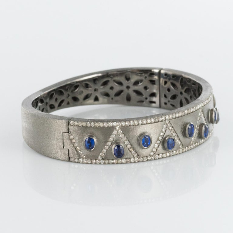 New Silver Diamond Kyanites Bangle Bracelet For Sale 3
