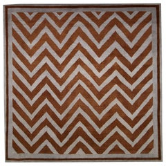 New SN1 Zig-Zag Pattern Handmade Wool Rug in Gray and Brown