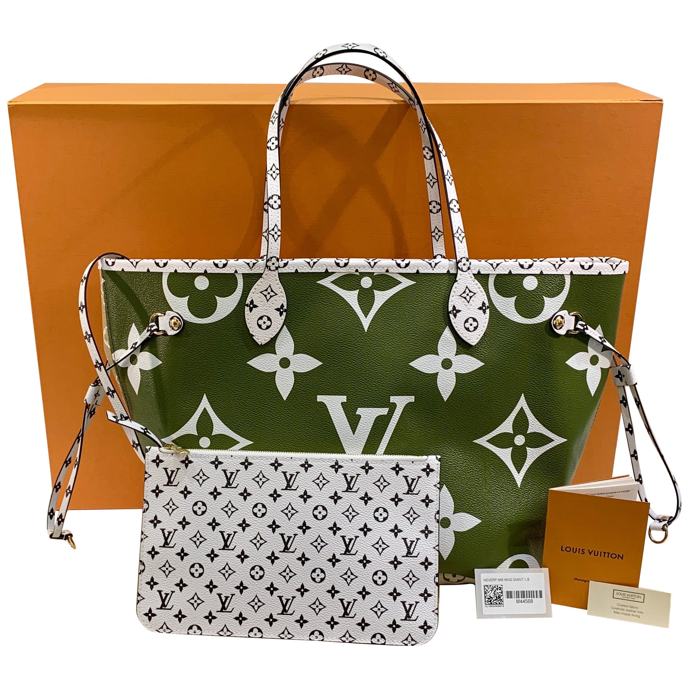 42a5f16fd85 New Sold Out Louis Vuitton NEVERFULL MM Khaki/Beige Ladies Tote Bag Summer  2019