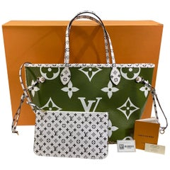 New Sold Out Louis Vuitton NEVERFULL MM Khaki/Beige Ladies Tote Bag Summer 2019