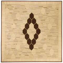 New Square Turkish Kilim Rug with Black and Gray Honeycomb Pattern