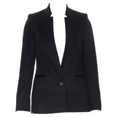 new STELLA MCCARTNEY 100% cashmere black button boxy long blazer jacket IT34 XS