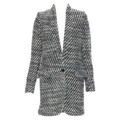 new STELLA MCCARTNEY black white boucle tweed collarless tailored coat IT34 XS