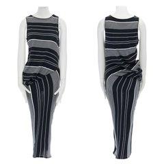 new STELLA MCCARTNEY black white stripe knit draped waist stretch dress IT36 XXS