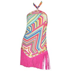 NEW Stunning Emilio Pucci Multicolor Signature Print Fringe Mini Dress