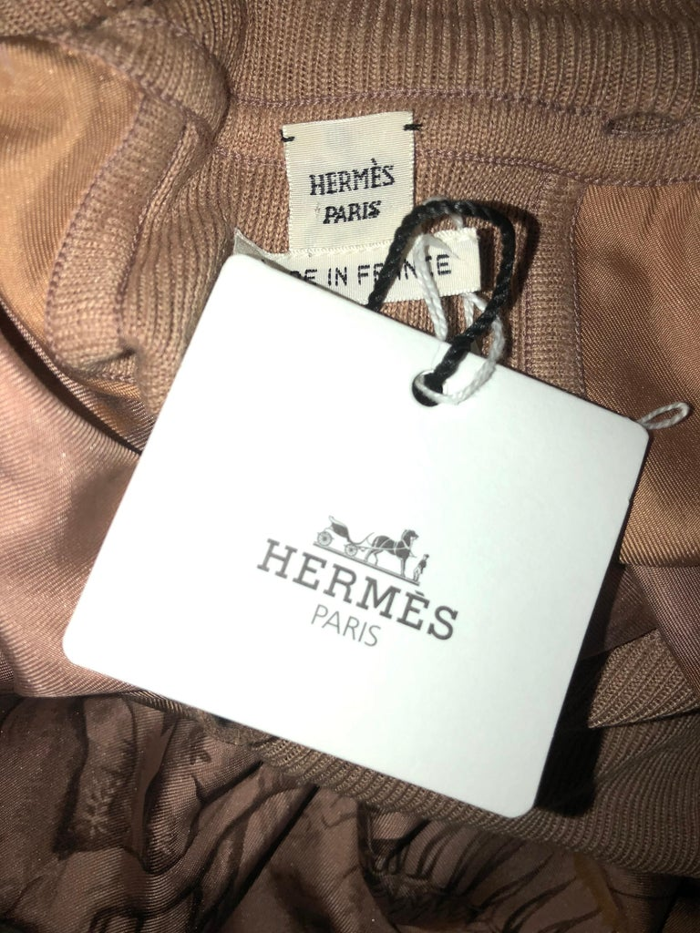 NEW Stunning HERMES Printed Silk & Leather Belted Dress For Sale 6