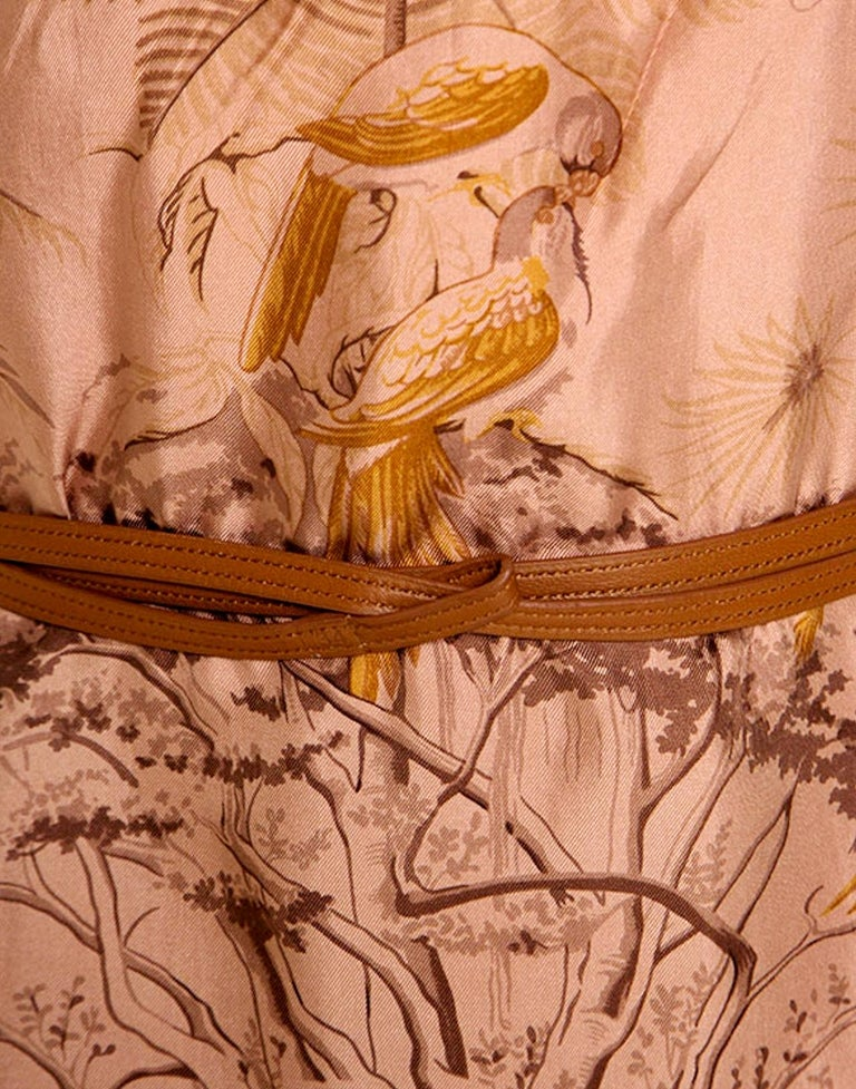 NEW Stunning HERMES Printed Silk & Leather Belted Dress For Sale 4