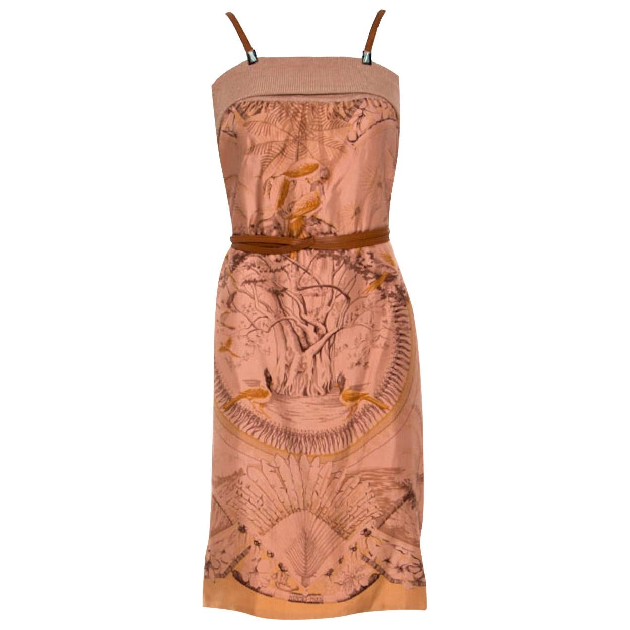NEW Stunning HERMES Paris Printed Silk & Leather Belted Dress