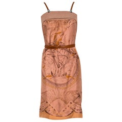 NEW Stunning HERMES Printed Silk & Leather Belted Dress