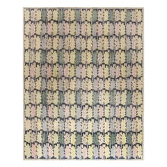 New Swedish Blue, Green, Purple and Yellow Flat-Woven Wool Rug