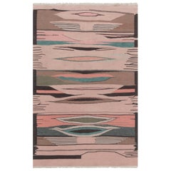 New Swedish Design Brown, Green and Pink Flat-Weave Wool Rug