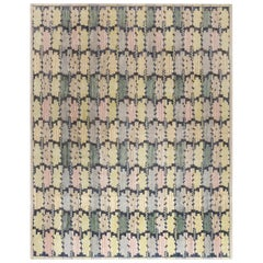 New Swedish Inspired Blue, Green, Purple and Yellow Flat-Woven Rug