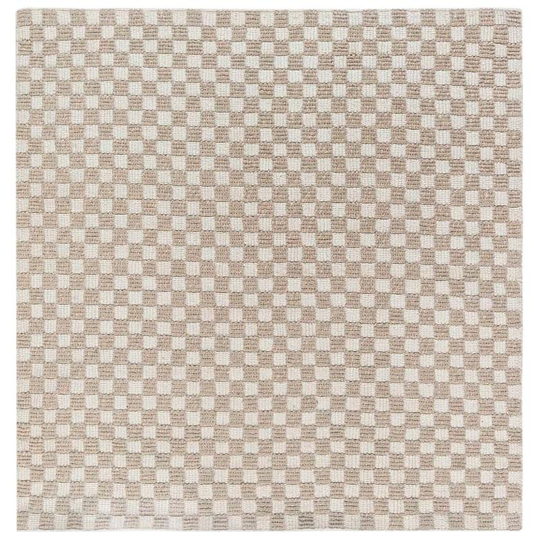 New Swedish Inspired Indoor Outdoor Geometric Beige and White Wool Rug