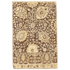 New Tabriz Rug with Beige and Brown Flower Motifs on Ivory Field