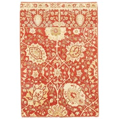 New Tabriz Rug with Beige and Ivory Flower Motifs on Red Field