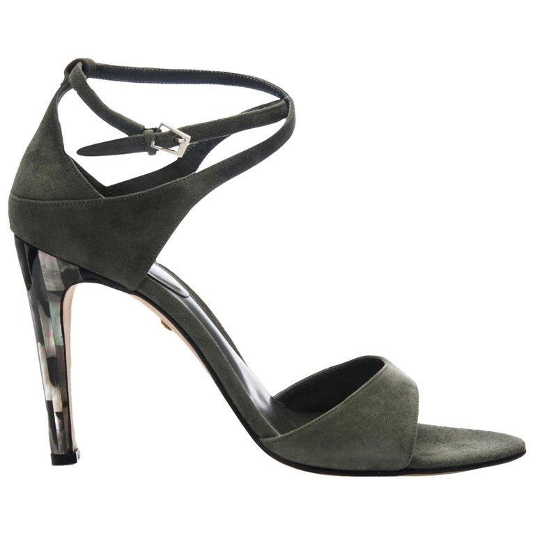 New Tania Spinelli Mother of Pearl Suede Heels Sz 40 For Sale