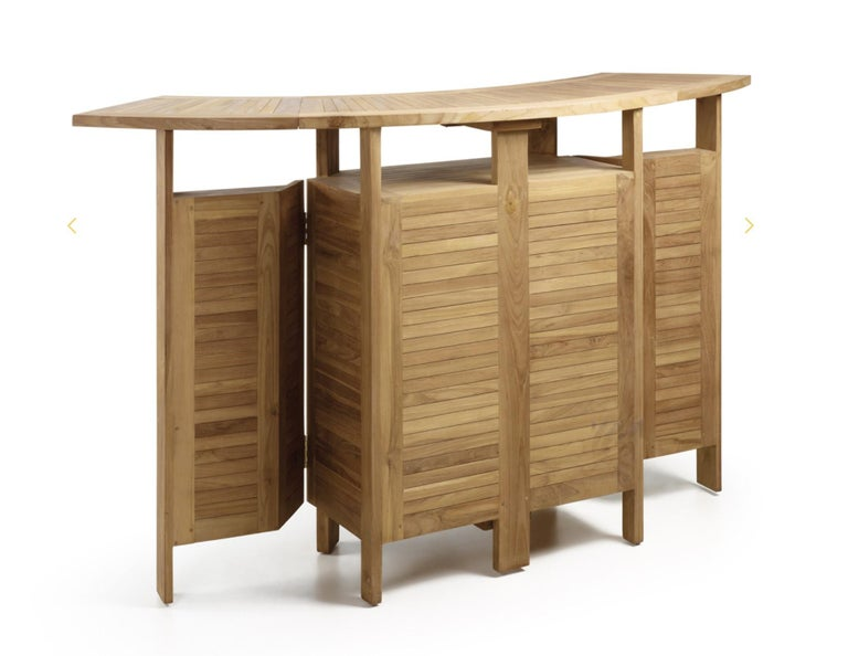 Spanish New Teak Foldable Dry Bar, Indoor and Outdoor For Sale