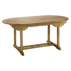New Teak Oval Foldable Dining Table, Indoor and Outdoor
