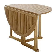New Teak Round Foldable DIning Table, Indoor and Outdoor