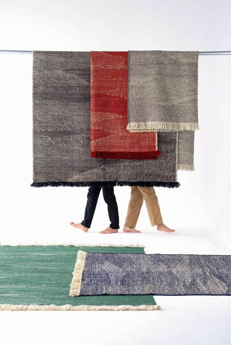 This collection is born from the persistent search for new approaches that the loom has to offer.  By combining the techniques used in kilims and typical dhurries, we have created a unique set of textures and rhythm through the variation and