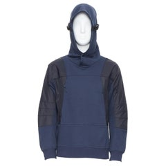 new THE NORTH FACE Urban Navy blue technical nylon insert relaxed hoodie M / L