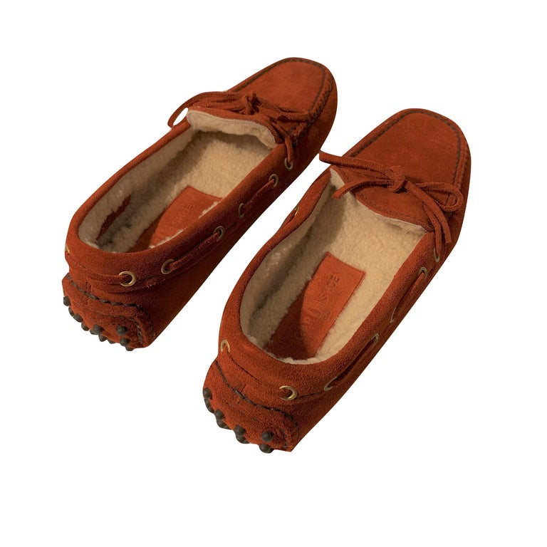 The Original Car Shoe by Prada  Brand New * Rust * Suede * Shearling Lining * Gold Hardware * Bow Toe * Flat Heel * Rubber Bumper Sole * With Box & Dust Cover