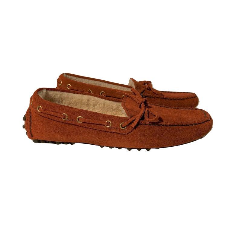 Brown  New The Original Prada Car Shoe Flat Moccasin Shearling House Driving  Sz 36 For Sale
