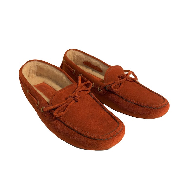 Women's  New The Original Prada Car Shoe Flat Moccasin Shearling House Driving  Sz 36 For Sale