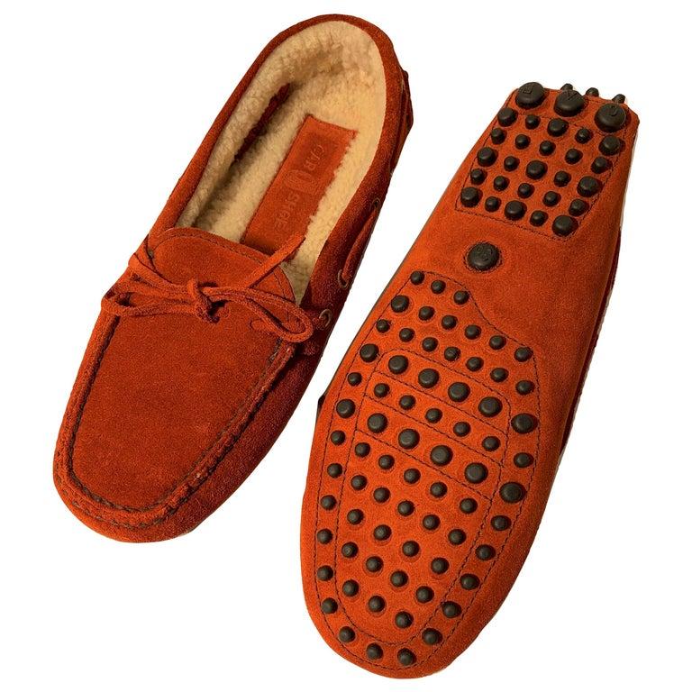 New The Original Prada Car Shoe Flat Moccasin Shearling House Driving  Sz 36 For Sale