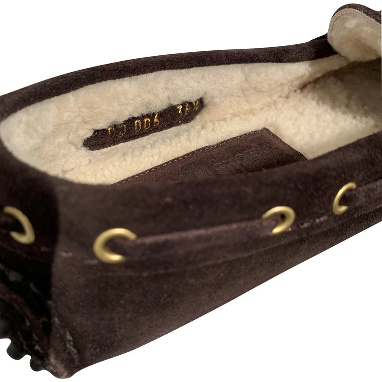 The Original Car Shoe by Prada  Brand New * Dark Chocolate * Suede * Shearling Lining * Gold Hardware * Bow Toe * Flat Heel * Rubber Bumper Sole * With Box & Dust Cover