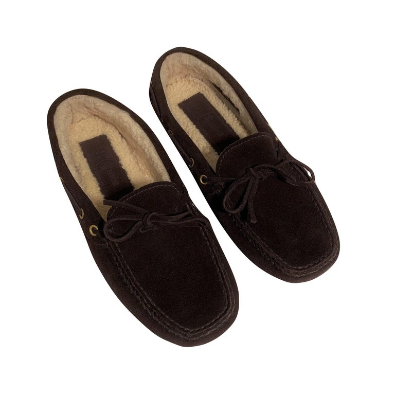 Black  New The Original Prada Car Shoe Flat Moccasin Shearling House Driving  Sz 36.5 For Sale