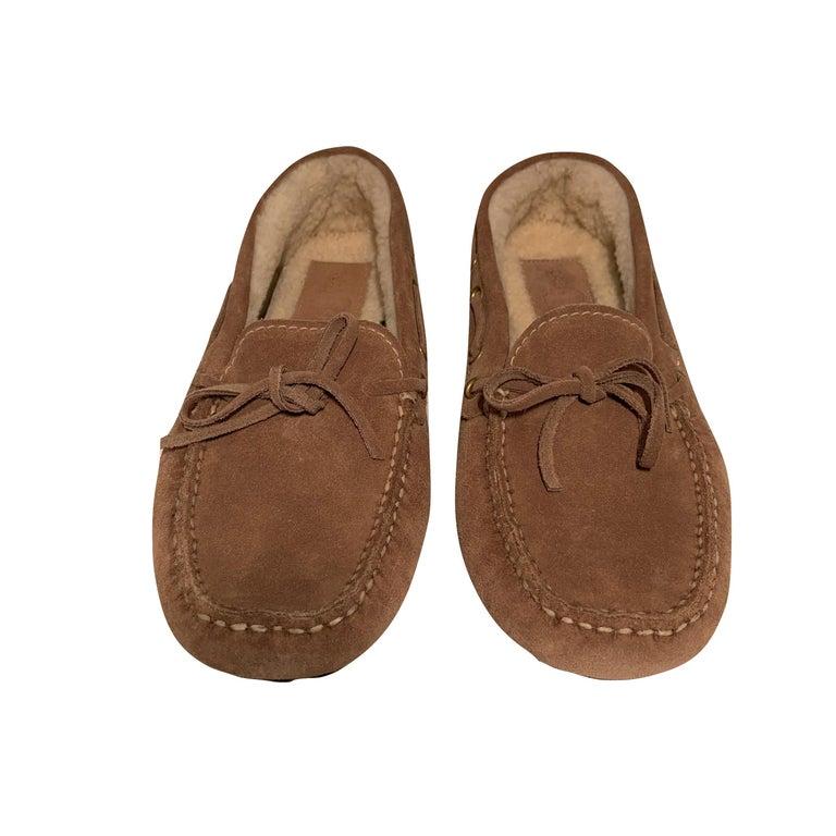 Brown  New The Original Prada Car Shoe Flat Moccasin Shearling House Driving  Sz 36.5 For Sale
