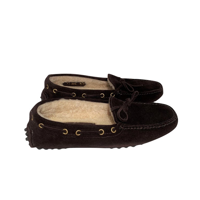 Women's  New The Original Prada Car Shoe Flat Moccasin Shearling House Driving  Sz 36.5 For Sale
