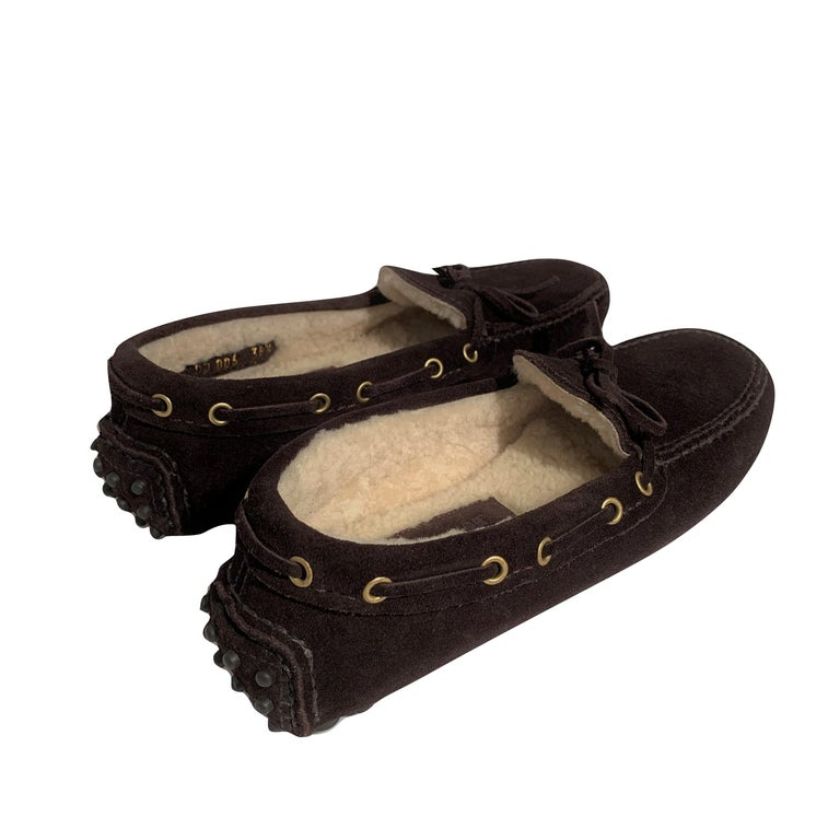 New The Original Prada Car Shoe Flat Moccasin Shearling House Driving  Sz 36.5 For Sale 1