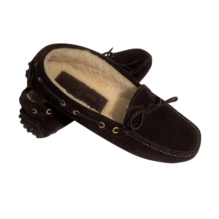 New The Original Prada Car Shoe Flat Moccasin Shearling House Driving  Sz 36.5 For Sale 2