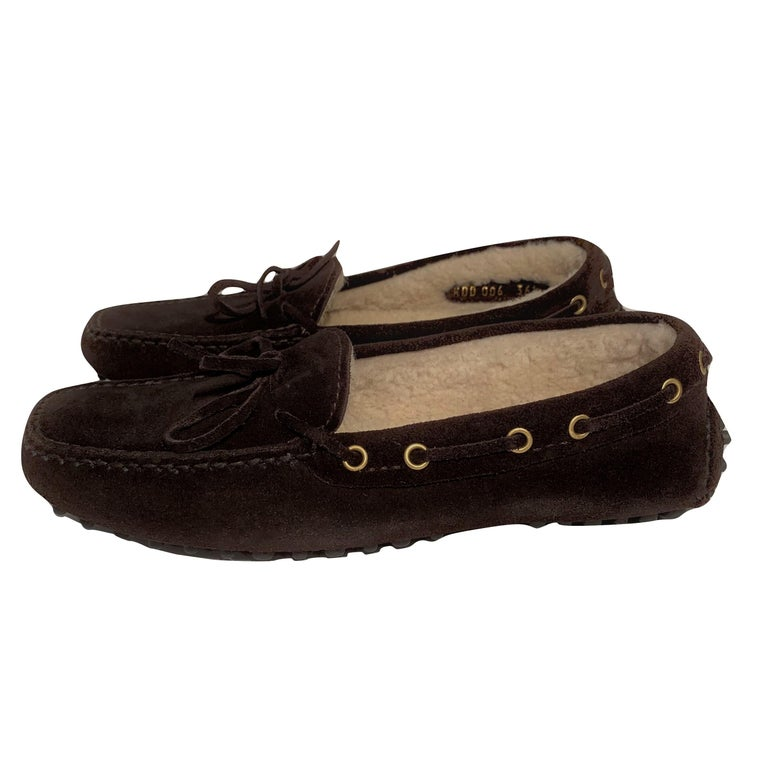 New The Original Prada Car Shoe Flat Moccasin Shearling House Driving  Sz 36.5 For Sale 4