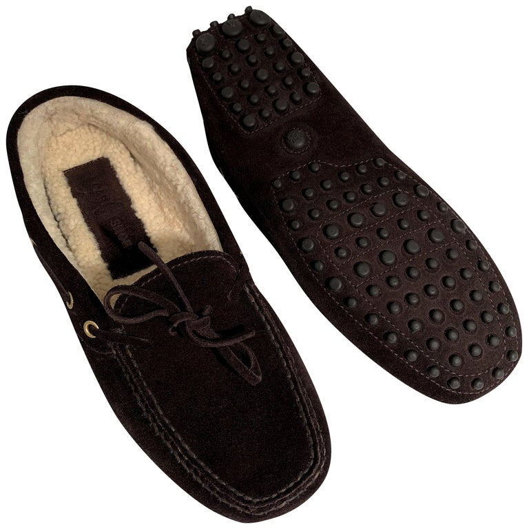 New The Original Prada Car Shoe Flat Moccasin Shearling House Driving  Sz 36.5 For Sale