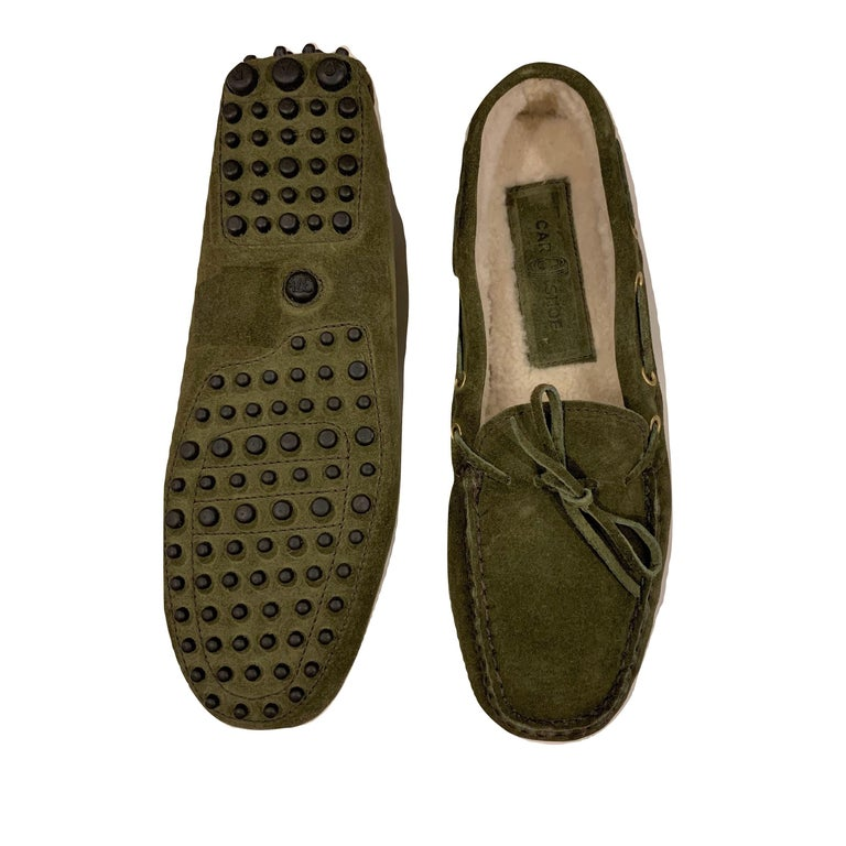 The Original Car Shoe by Prada  Brand New * Moss Green * Suede * Shearling Lining * Gold Hardware * Bow Toe * Flat Heel * Rubber Bumper Sole * With Box & Dust Cover