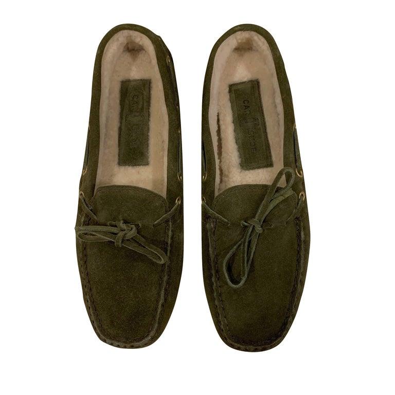Brown  New The Original Prada Car Shoe Flat Moccasin Shearling House Driving  Sz 37 For Sale